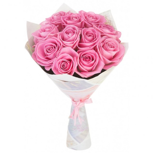 11 розовых роз в крафте